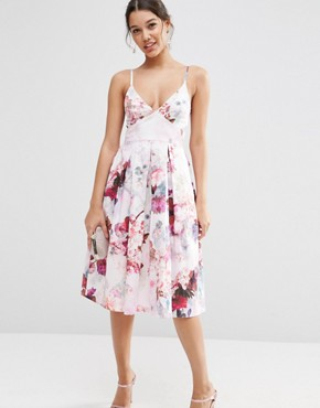 ASOS Strappy Midi Prom Dress In Lilac Floral