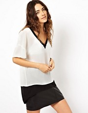 ASOS Monochrome Top With Plunge V-Neck