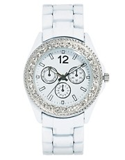 River Island White Encrusted Grace Watch