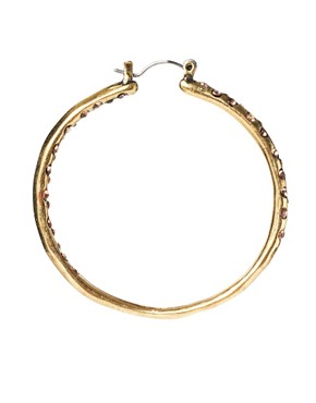 Image 3 ofMango Antiqued Stone Set Hoop Earrings