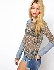 Glamorous Textured Sweater with Denim Patches