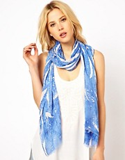 Mango Blue Mix Print Scarf