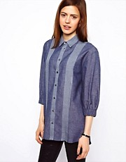 ASOS Shirt In Panelled Chambray With Elastic Cuff Detail
