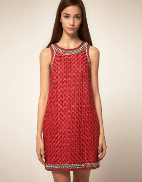 Image 1 ofManoush Boucles Shift Dress With Embellished Trim