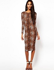 ASOS Midi Bodycon Dress In Leopard Print