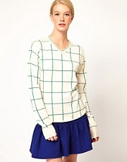 United Bamboo V-Neck Checked Sweater