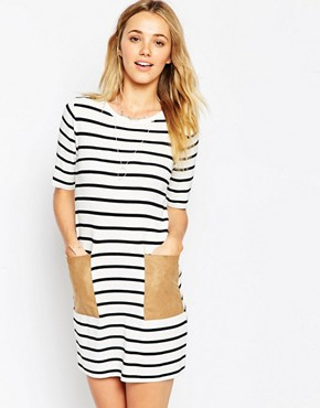 ASOS Knitted Dress In Stripe With Suedette Pockets