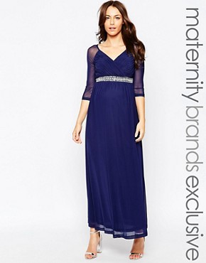 Little Mistress Maternity Embellished Waist Maxi Dress with Sheer Sleeves