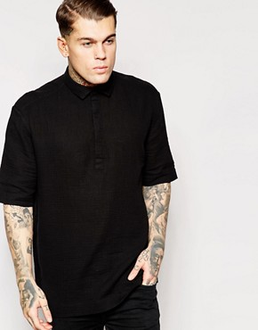 ASOS Shirt With Half Sleeves And Oversized Fit In Lightweight Fabric