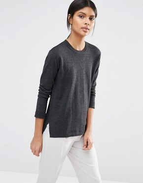 Selected Maia Fine Gage Jumper in Dark Grey Melange