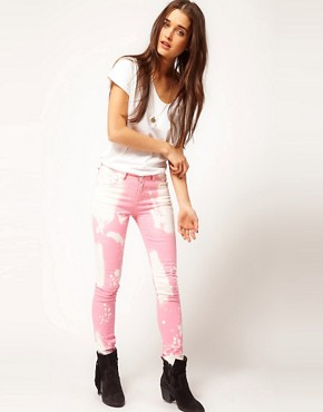 Image 4 ofASOS Skinny Jeans in Splatter Effect #4