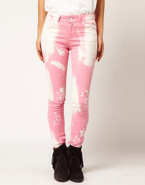 Image 1 ofASOS Skinny Jeans in Splatter Effect #4