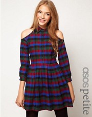 ASOS PETITE Exclusive Dress With Cold Shoulder In Check