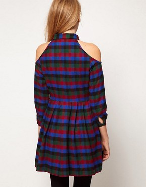 Image 2 ofASOS PETITE Exclusive Dress With Cold Shoulder In Check