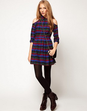 Image 4 ofASOS PETITE Exclusive Dress With Cold Shoulder In Check