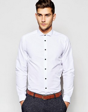 ASOS Smart Shirt In Long Sleeve With Cutaway Collar And Contrast Buttons