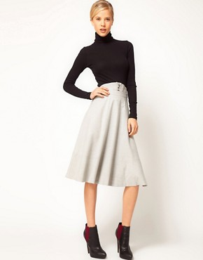 Image 1 ofASOS Midi Skirt With Waist Detail