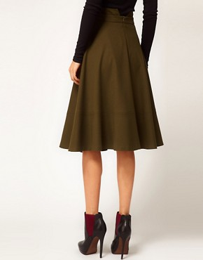 Image 2 ofASOS Midi Skirt With Waist Detail