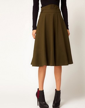 Image 4 ofASOS Midi Skirt With Waist Detail