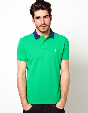 Image 1 ofPolo Ralph Lauren Polo with Contrast Collar in Custom Fit