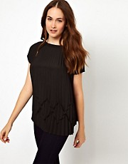 Ted Baker Pleated Blouse with Slash Neck