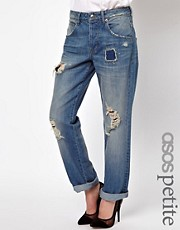 ASOS PETITE Saxby Boyfriend Jeans in Light Wash Vintage Rip and Repair