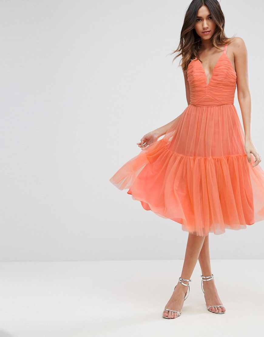 ASOS Tulle Midi Prom Dress - Coral