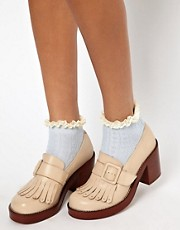 River Island Blue Light Cable Design Frill Ankle Sock
