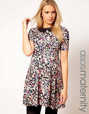ASOS Maternity Printed Tea Dress With Crochet Collar
