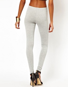 Image 2 ofASOS Full Length Leggings in Light Grey Marl