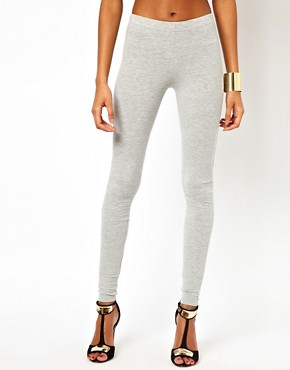 Image 4 ofASOS Full Length Leggings in Light Grey Marl