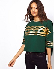 ASOS Top with Curved Hem with ZigZag Foil
