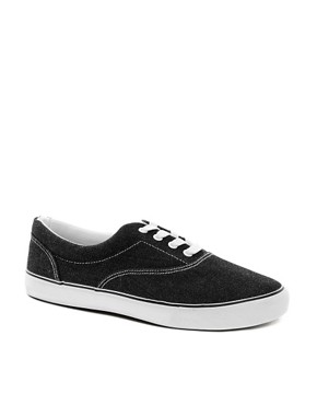 Image 1 of ASOS Plimsolls With Washed Finish