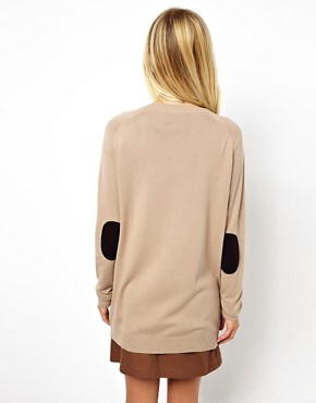 Image 2 of ASOS Elbow Patch Cardigan