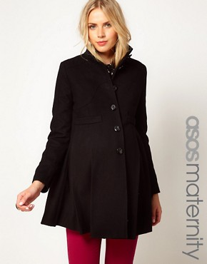Image 1 of ASOS Maternity Swing Coat With Pleats