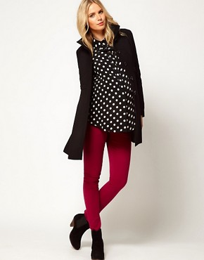 Image 4 of ASOS Maternity Swing Coat With Pleats