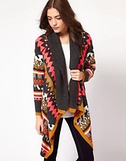 Vila Slouchy Intarsia Knit Draped Cardigan