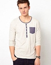 ASOS Long Sleeve T-Shirt With Grandad Neck And Chambray Pocket