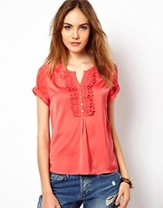 Top sedoso con volantes de Maison Scotch