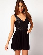 Elise Ryan Sequin Panel Mesh Skater Dress