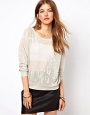 Ganni  Sweatshirt aus Metallic-Spitze
