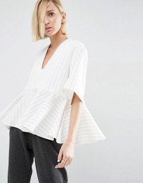 ASOS WHITE Stripe Peplum Top With V-Neck