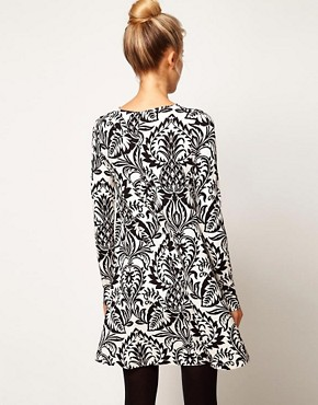 Image 2 ofASOS PETITE Swing Dress In Baroque Print