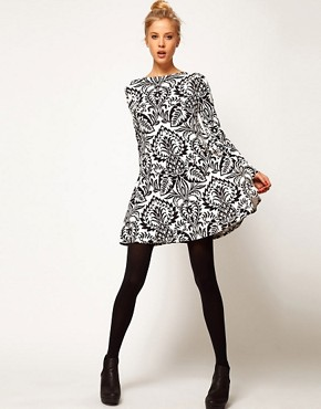 Image 4 ofASOS PETITE Swing Dress In Baroque Print