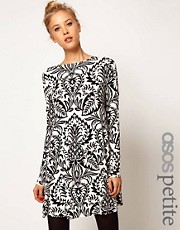 ASOS PETITE Swing Dress In Baroque Print
