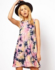 ASOS Smock Dress In Tie Dye Print