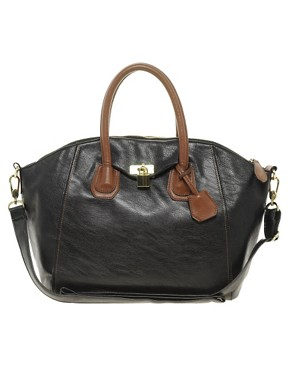 Image 1 ofASOS Front Lock Contrast Bowler Bag