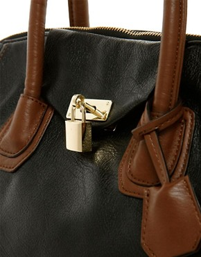 Image 4 ofASOS Front Lock Contrast Bowler Bag