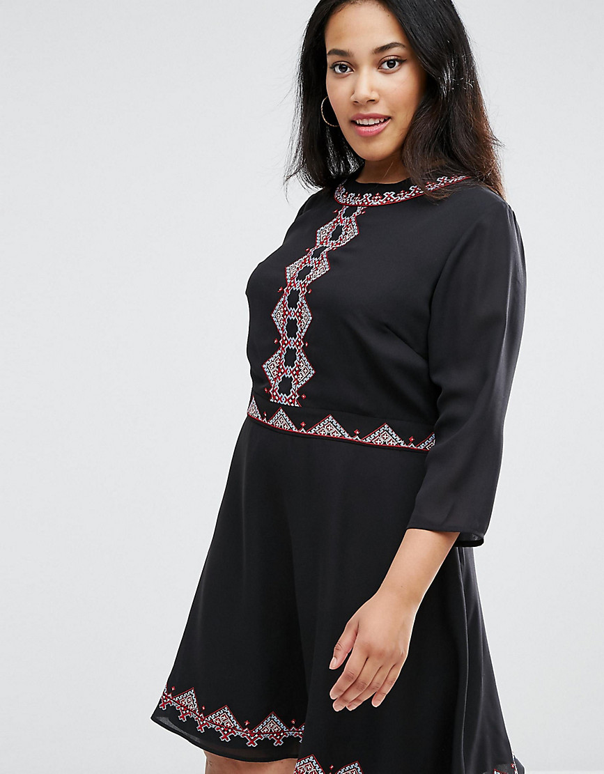 ASOS CURVE Premium Pretty Folk Embroidered Skater Dress