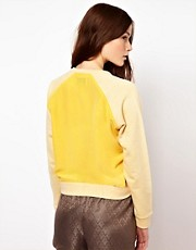 BZR Cotton Melange Jumper with Woven Panel to Back